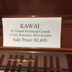 Used Kawai Model 505F French Provincial Cherry Console Price Tag