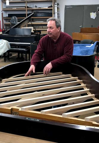 Making a soundboard for a rebuilt Steinway piano.